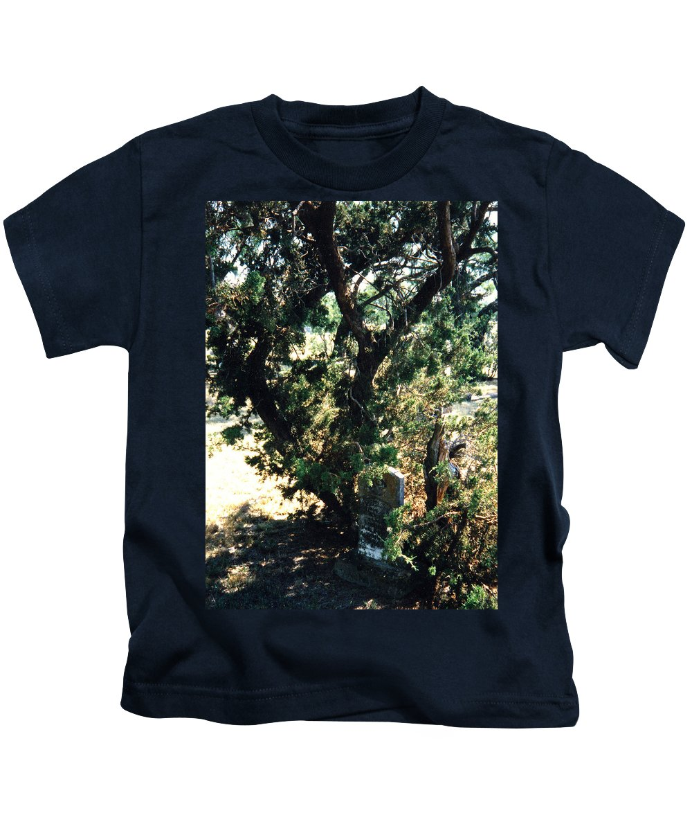 Hidden Grave Stone Mesquite Kids T-Shirt featuring the photograph The Hidden Grave by Cindy New