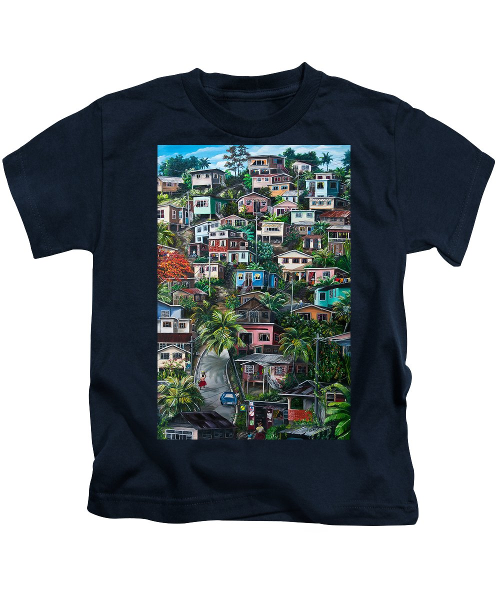 Landscape Painting Cityscape Painting Houses Painting Hill Painting Lavantille Port Of Spain Painting Trinidad And Tobago Painting Caribbean Painting Tropical Painting Caribbean Painting Original Painting Greeting Card Painting Kids T-Shirt featuring the painting The Hill   Trinidad by Karin Dawn Kelshall- Best
