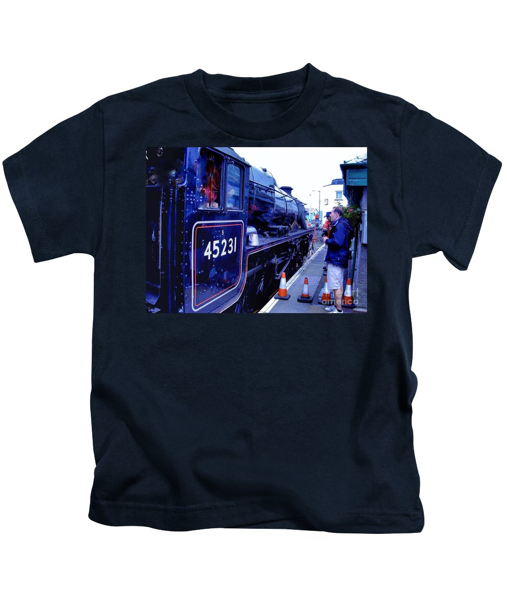 Steam Trains Kids T-Shirt featuring the photograph The Jacobite At Mallaig Station Platform 2 by Joan-Violet Stretch