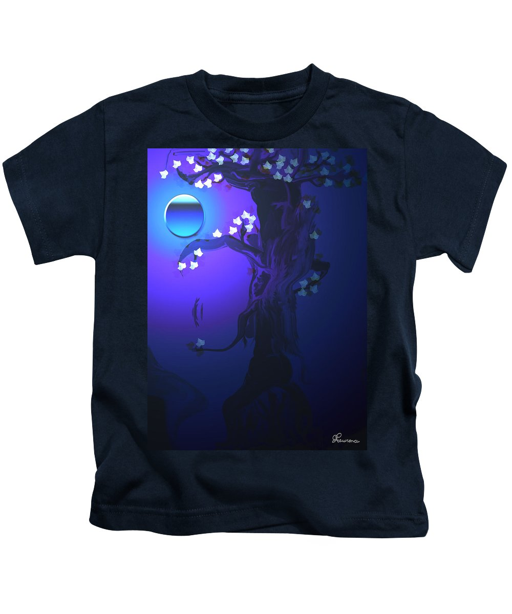 Tree Moon Spider Leaves Blue Feelings Lonely Drawing Dark Kids T-Shirt featuring the digital art The Keeper by Andrea Lawrence