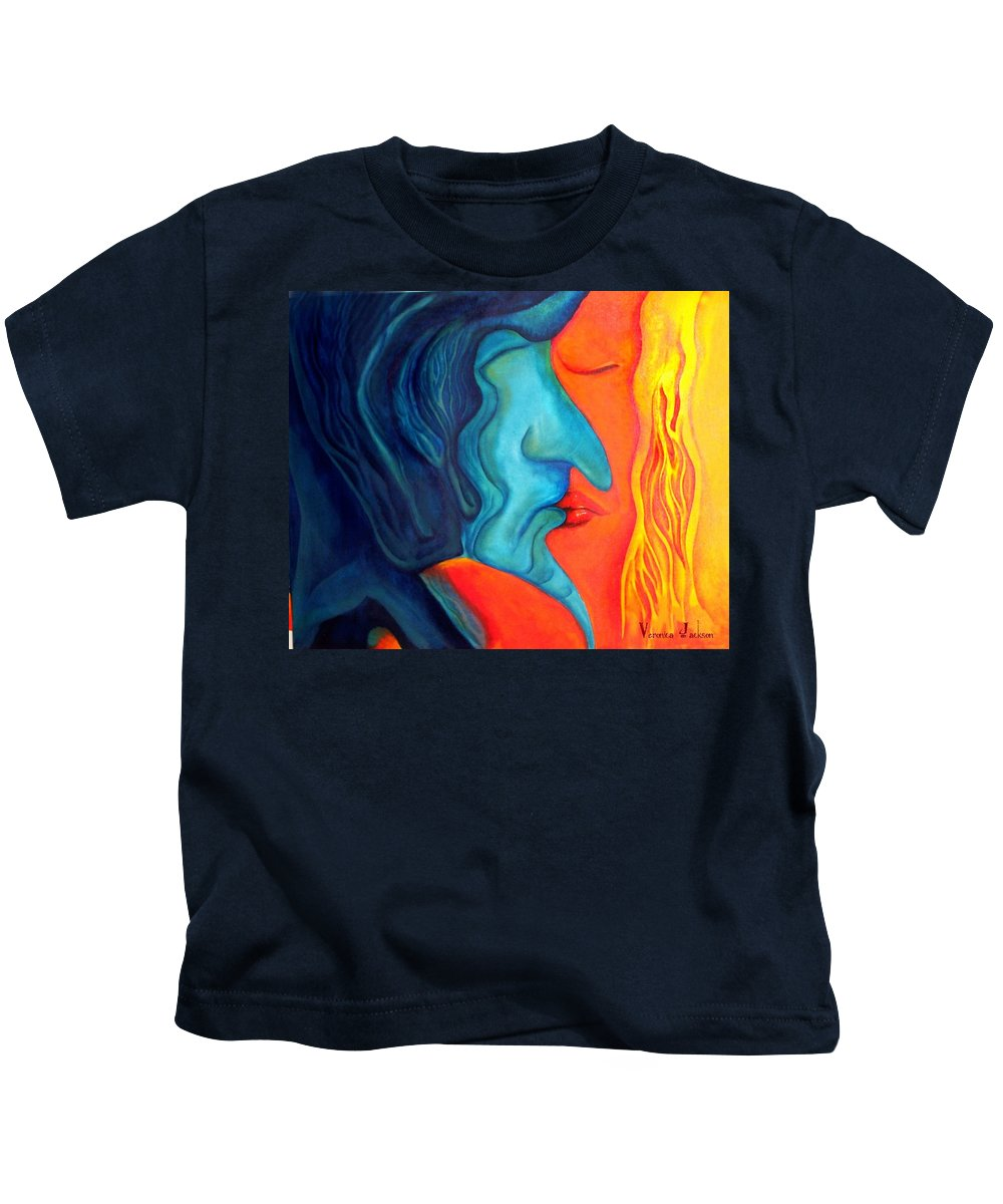 Kiss Love Passion Couple Intensity Blue Orange Fire Lust Sex Kids T-Shirt featuring the painting The Kiss by Veronica Jackson