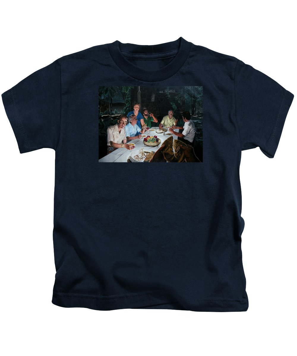 Last Supper Kids T-Shirt featuring the painting The Last Supper by Dave Martsolf