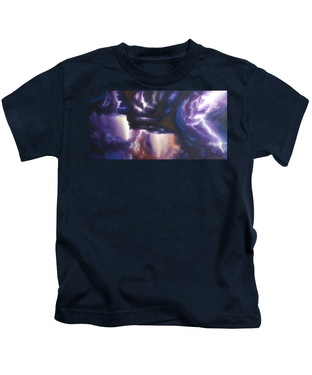 Tempest Kids T-Shirt featuring the painting The Lightning by James Christopher Hill