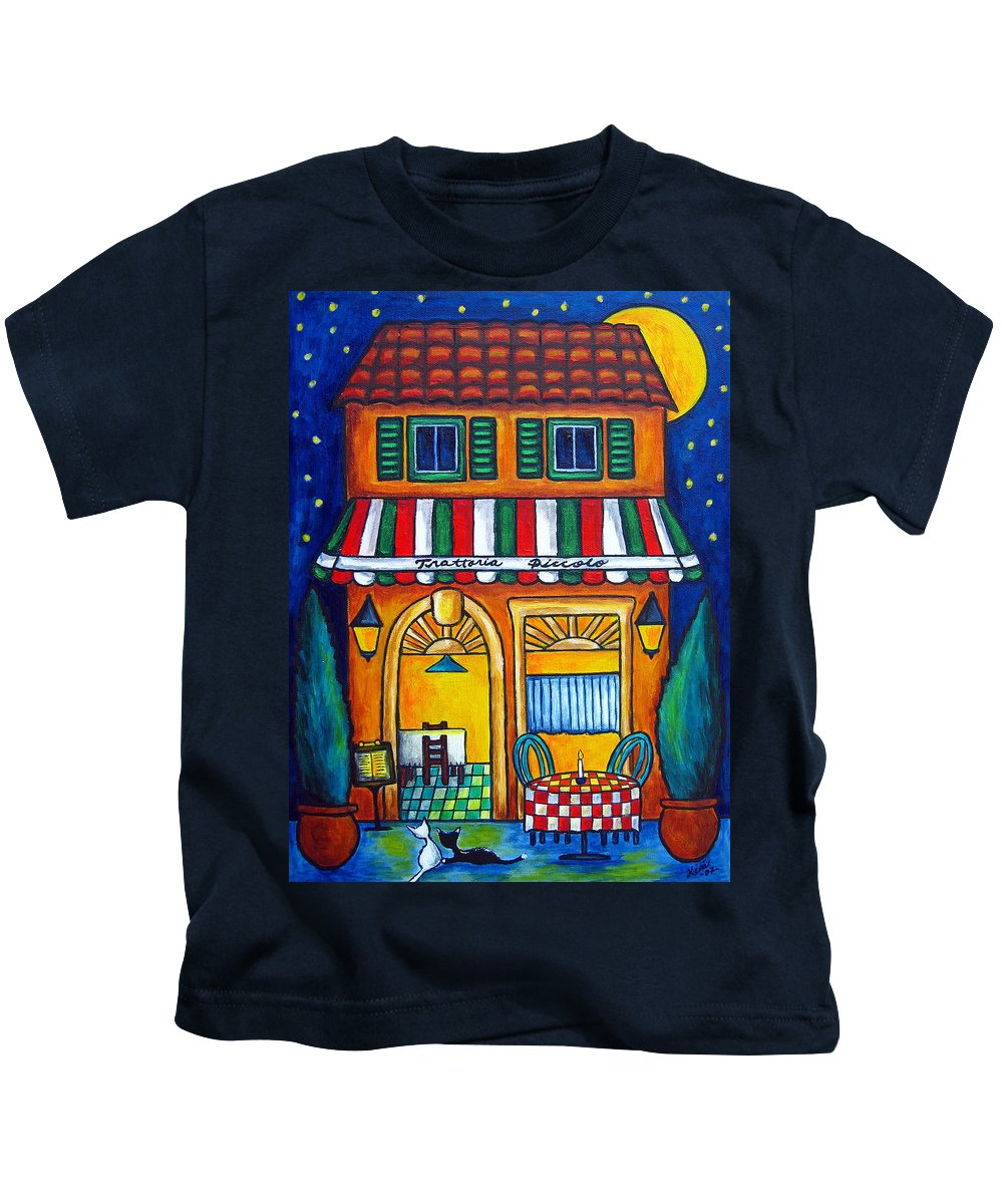 Blue Kids T-Shirt featuring the painting The Little Trattoria by Lisa Lorenz
