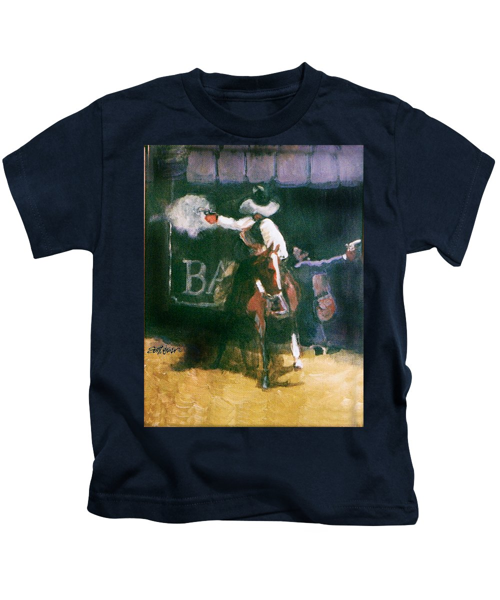 Cowboys Kids T-Shirt featuring the painting The Lord Helps Them...A Study by Seth Weaver