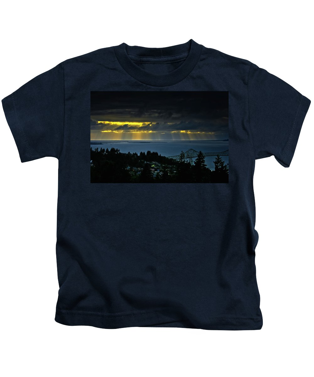 Pacific Ocean Kids T-Shirt featuring the photograph The Mouth Of The Columbia River by Albert Seger