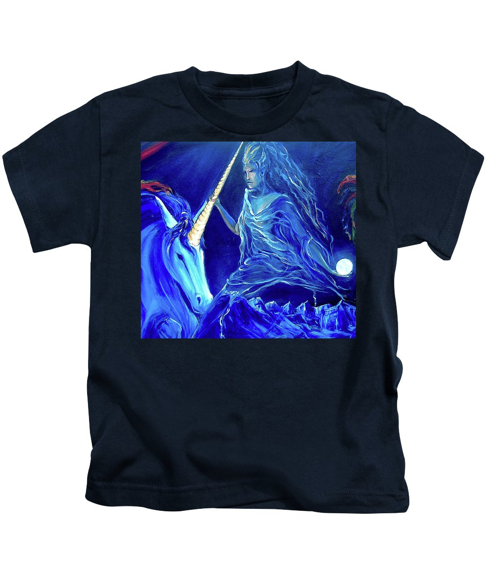 Unicorn Kids T-Shirt featuring the painting The Naeyad With Cyro by Jennifer Christenson