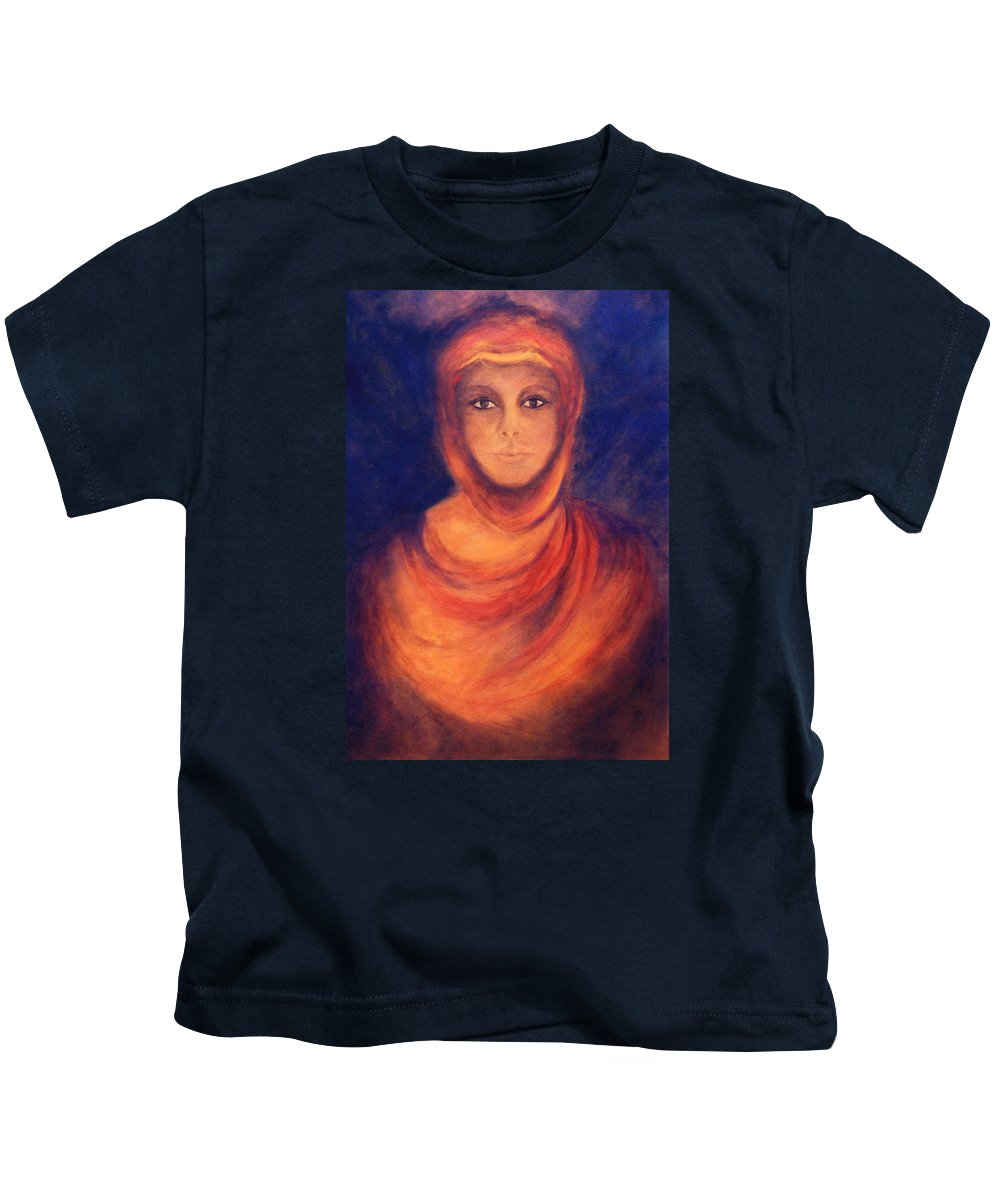 Woman Kids T-Shirt featuring the painting The Oracle by Marina Petro