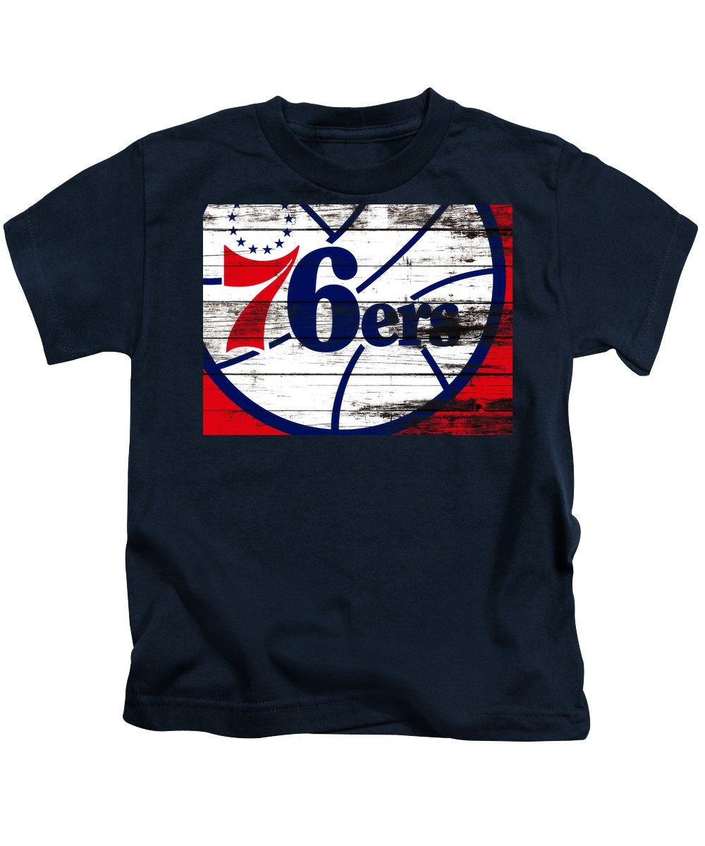 The Philadelphia 76ers Kids T-Shirt featuring the mixed media The Philadelphia 76ers 3e    by Brian Reaves
