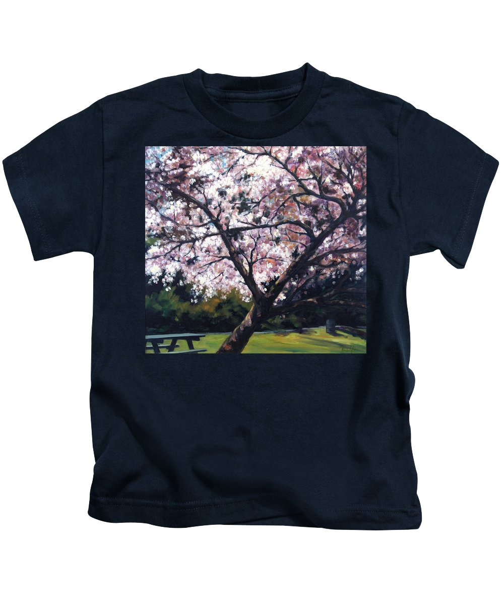 Spring Kids T-Shirt featuring the painting The Picnic Table by Rick Nederlof
