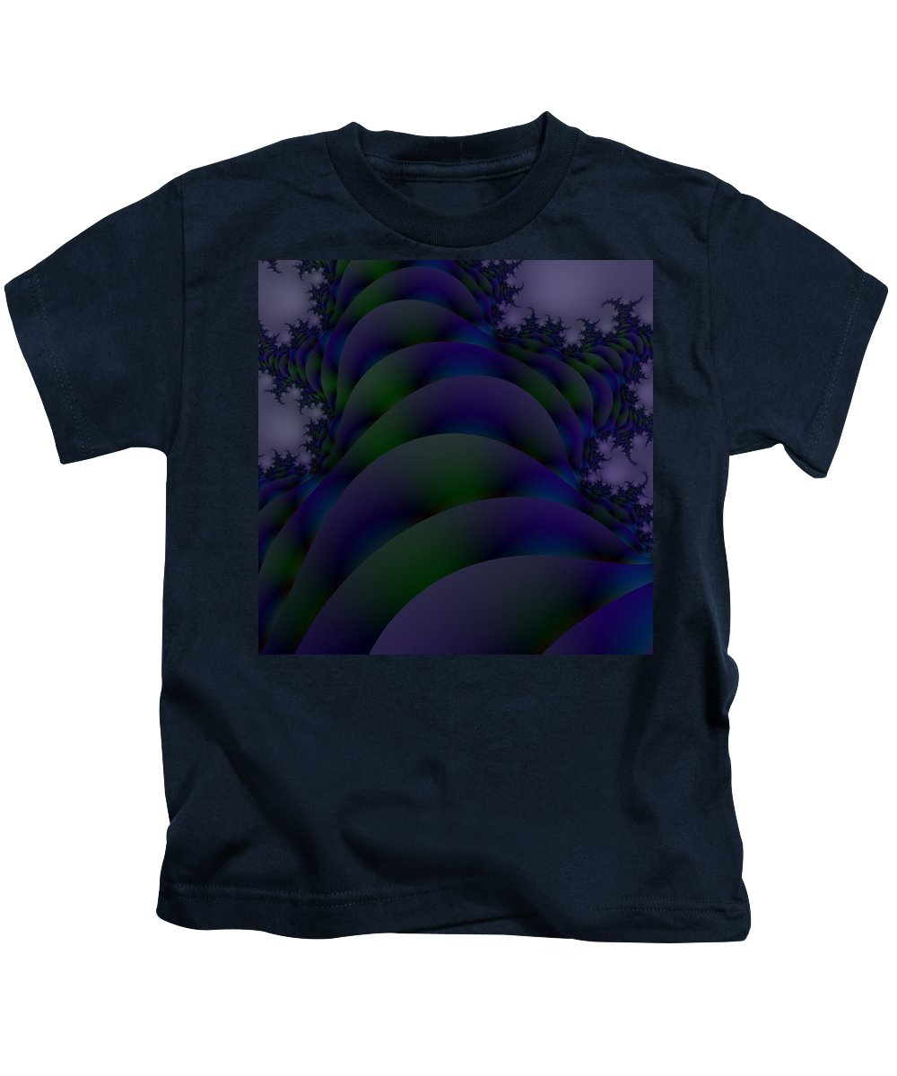 Love Flower Blue Teal Green Fantasy Abstract Digital Ocean Leaf Plant Photo Fractal Fine Art Black Kids T-Shirt featuring the photograph The Storm Is Brewing by Regina Rodella