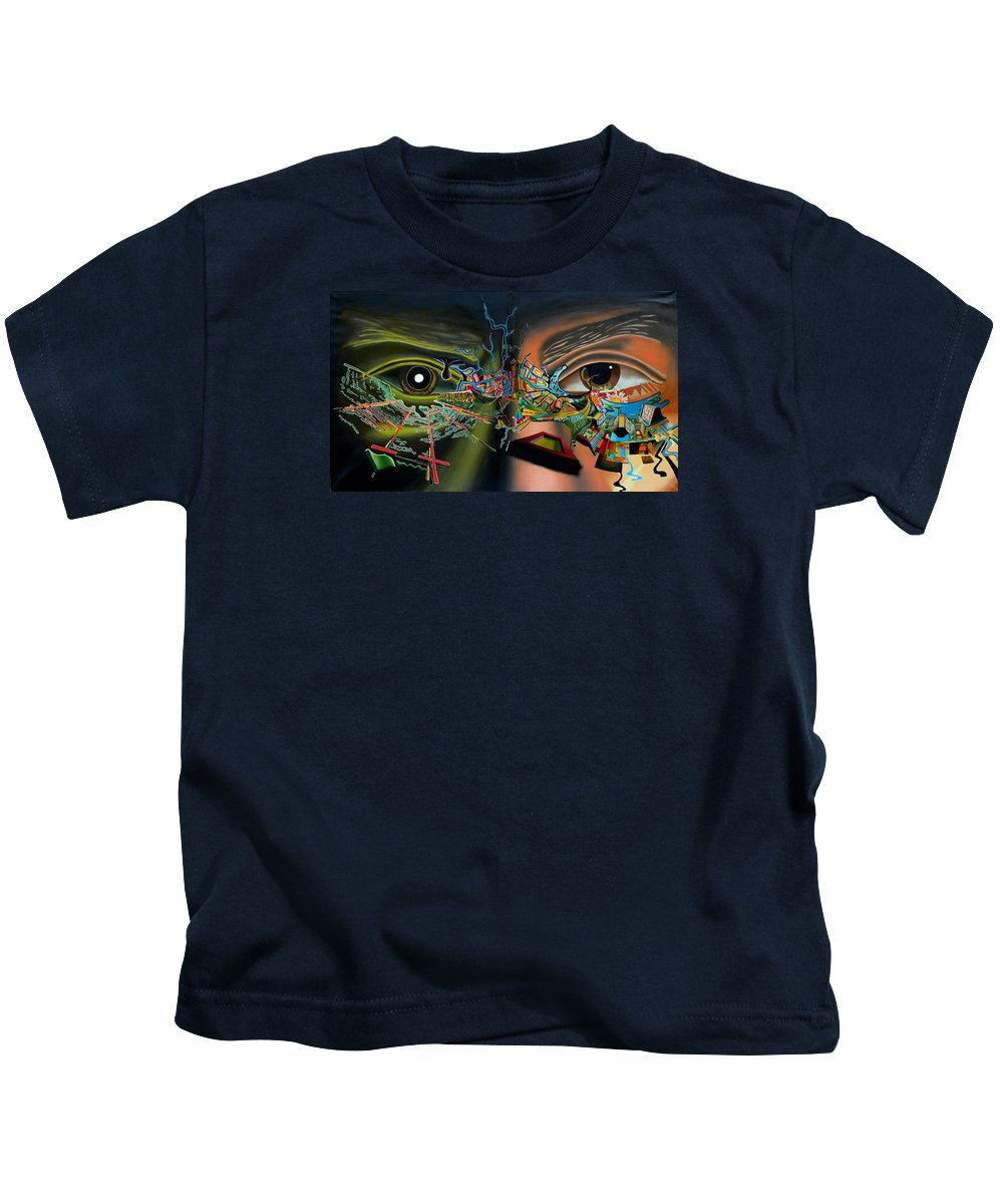 Surreal Kids T-Shirt featuring the painting The Surreal Bridge by Dave Martsolf