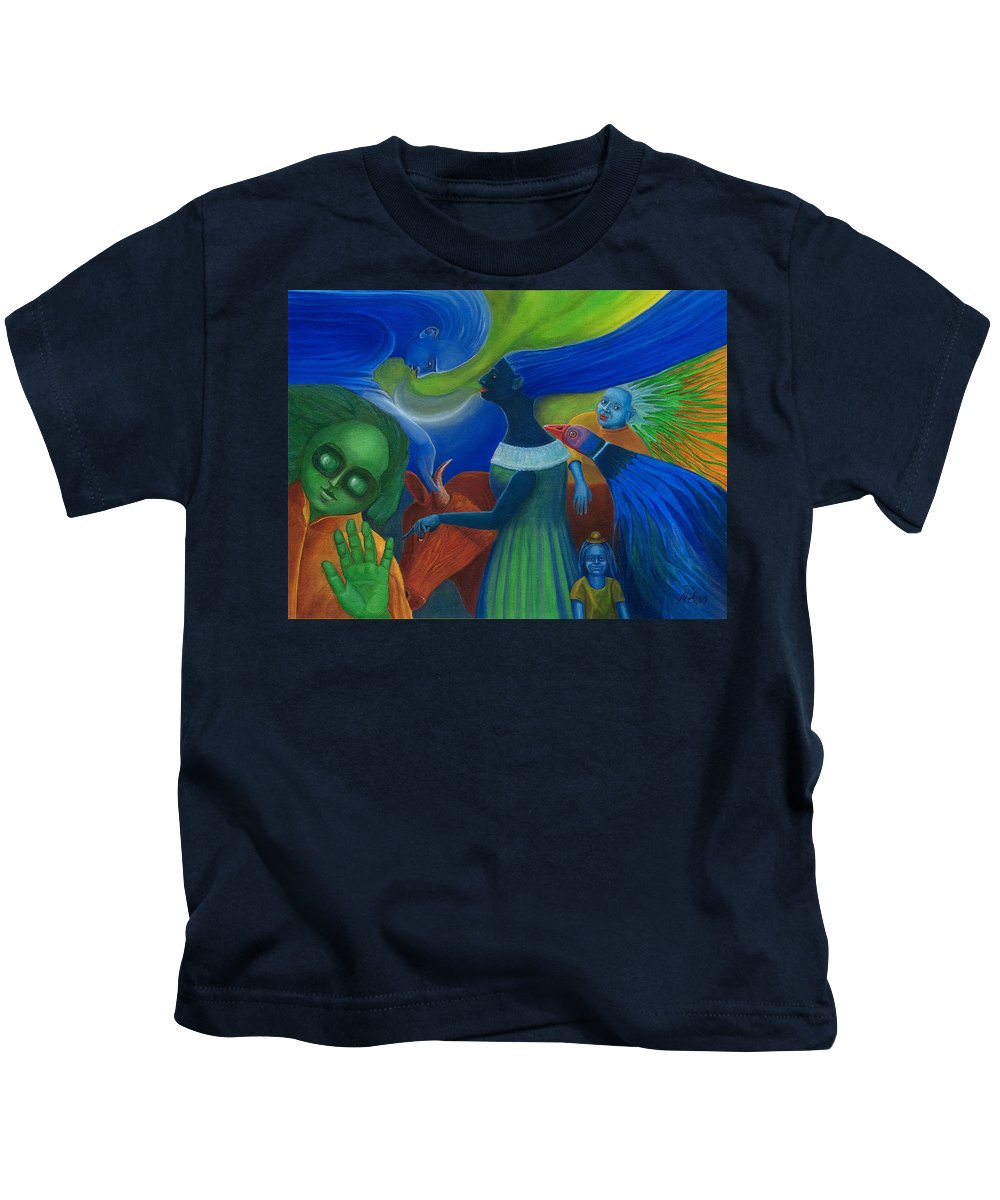 Surreal Kids T-Shirt featuring the painting The Talk. by Andrzej Pietal