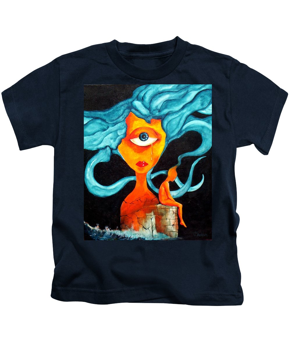 Surrealism Kids T-Shirt featuring the painting The Tear by Veronica Jackson