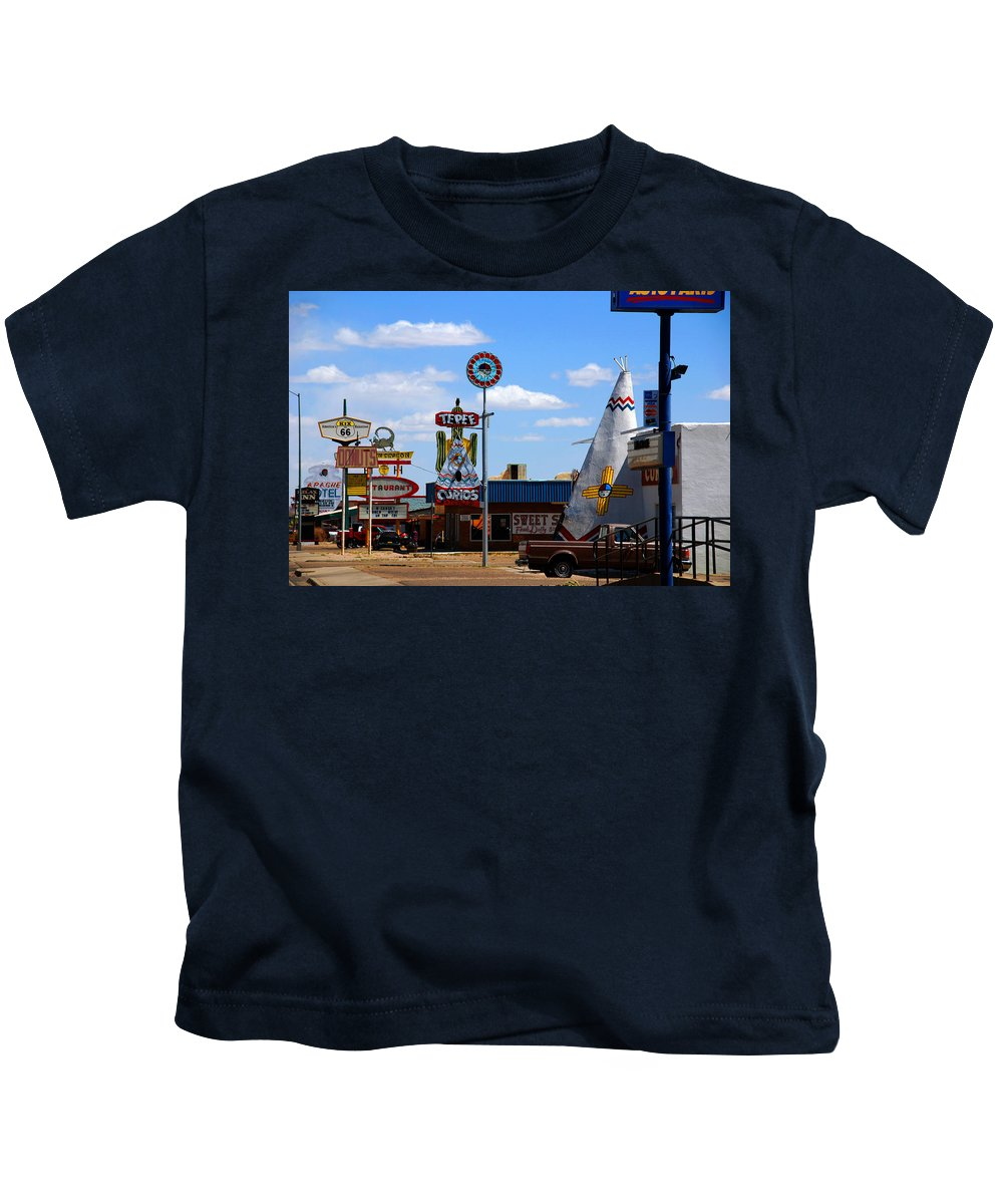 Tucumcari Kids T-Shirt featuring the photograph The Tee-pee Curios On Route 66 Nm by Susanne Van Hulst