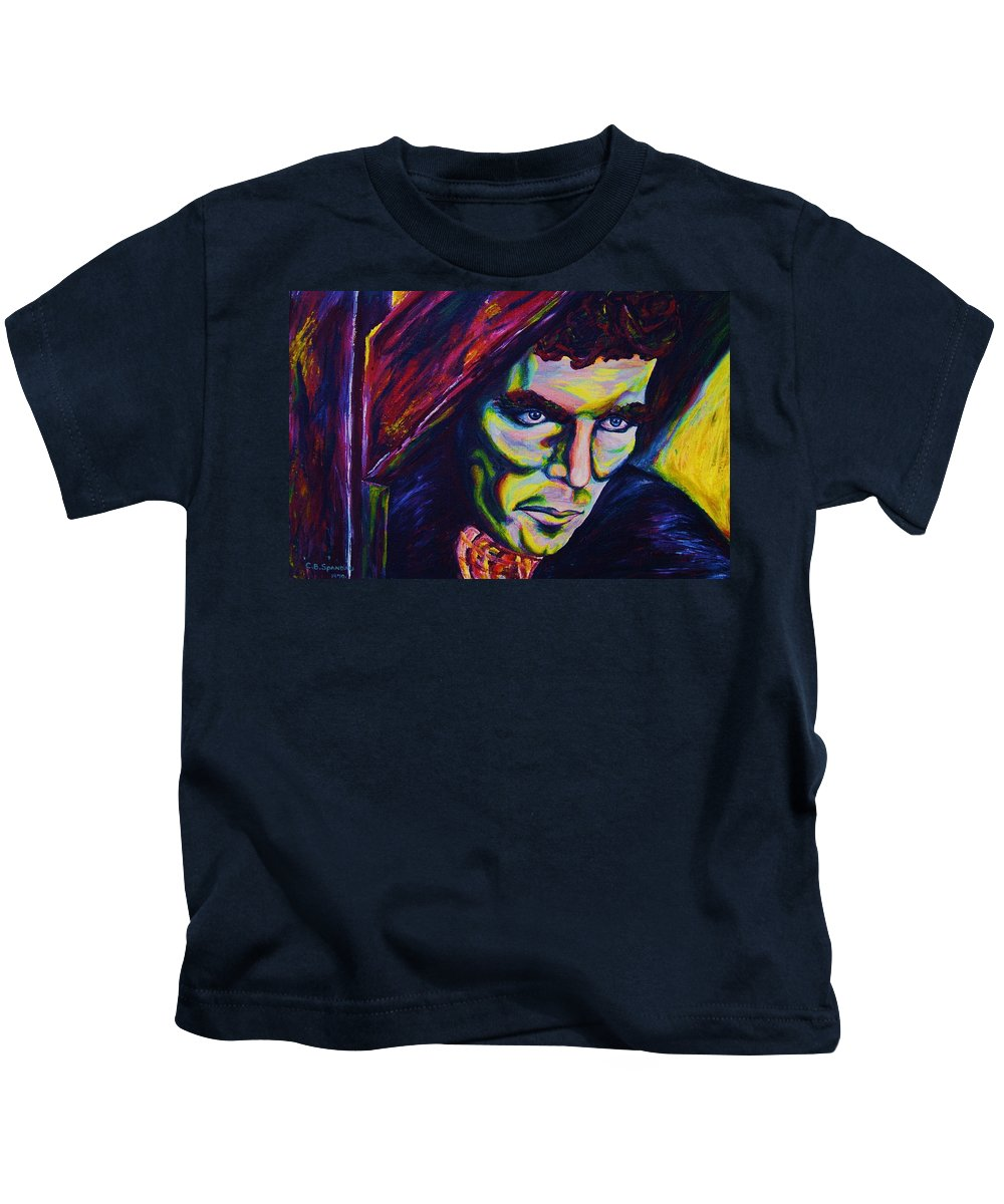 Portraits Kids T-Shirt featuring the painting The Vampire Lestat by Carole Spandau
