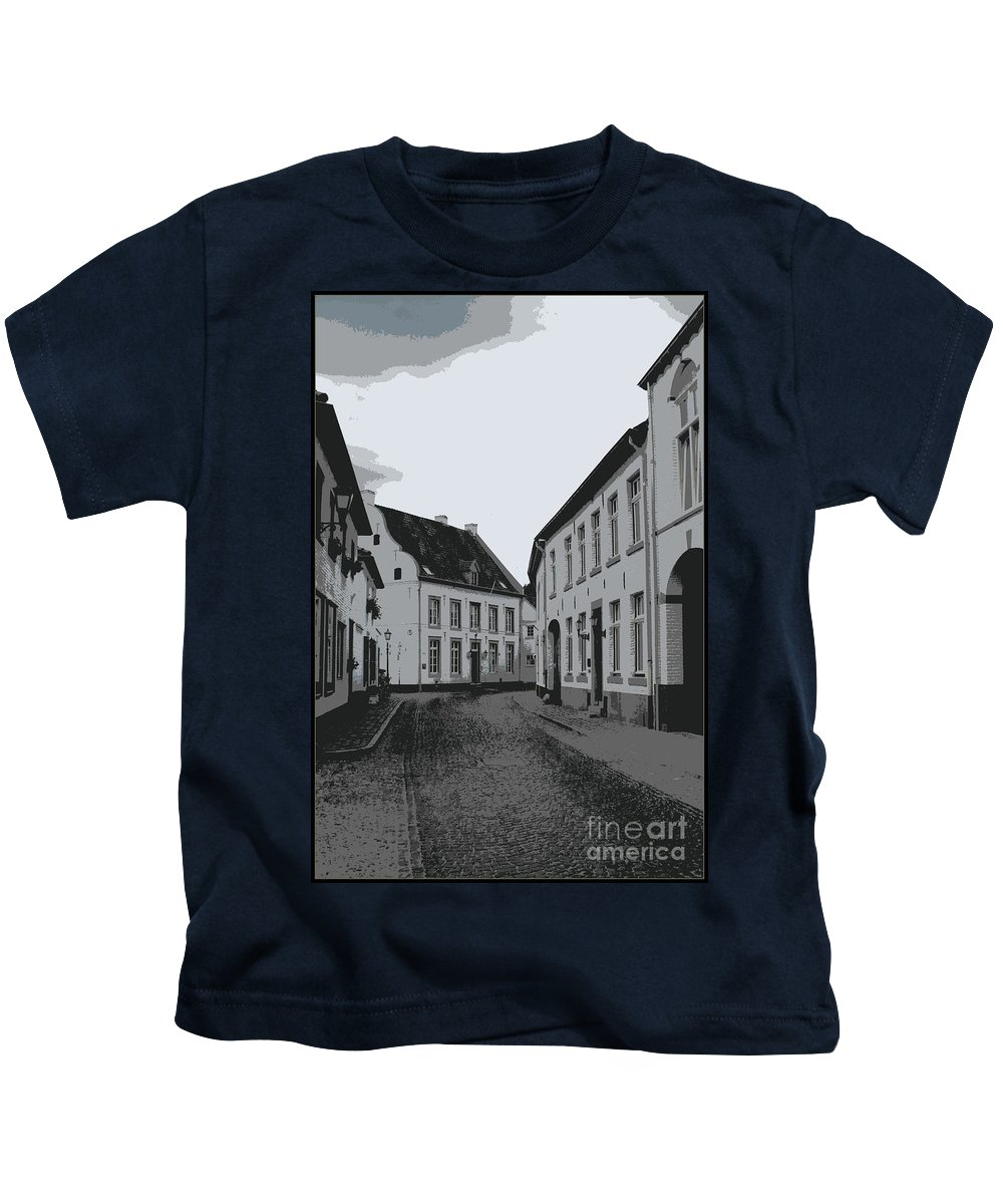 Gray And White Kids T-Shirt featuring the photograph The White Village - Digital by Carol Groenen