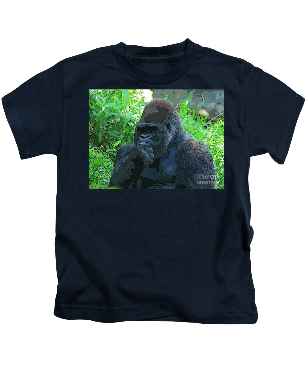 Art Kids T-Shirt featuring the painting Thinking by David Lee Thompson