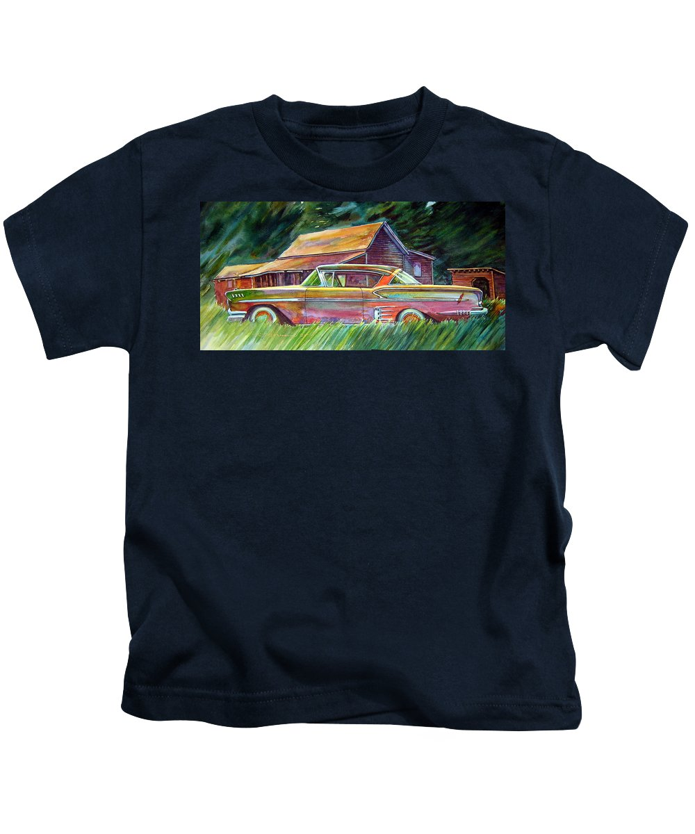 Rusty Car Chev Impala Kids T-Shirt featuring the painting This Impala Doesn by Ron Morrison