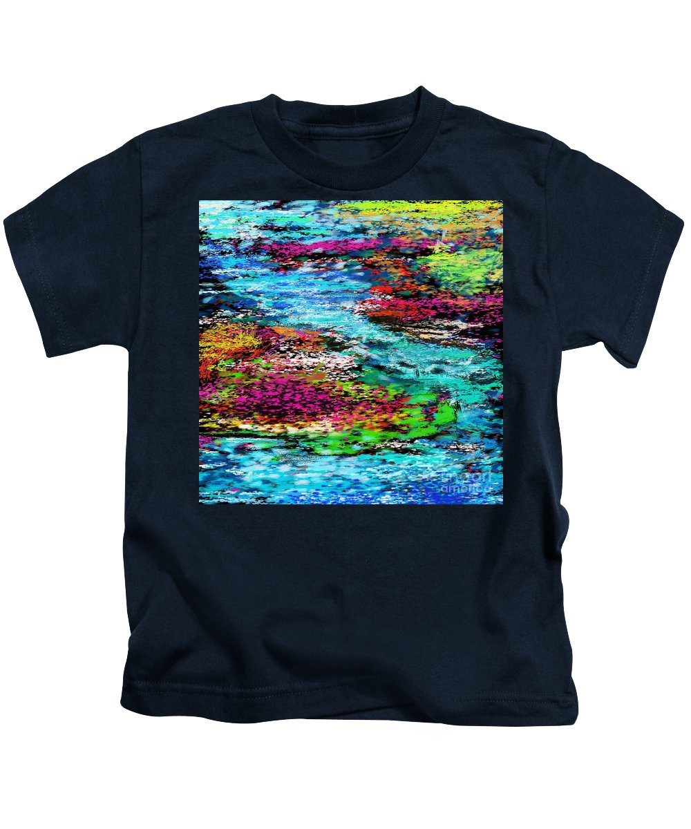 Abstract Kids T-Shirt featuring the digital art Thought Upon A Stream by David Lane