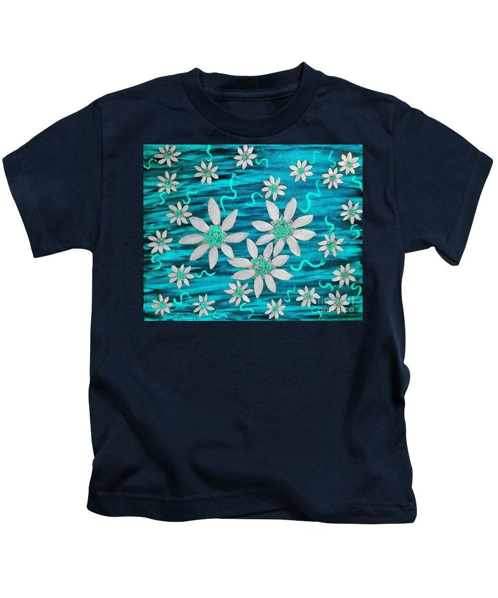 Blue Kids T-Shirt featuring the painting Three And Twenty Flowers On Blue by Rachel Hannah