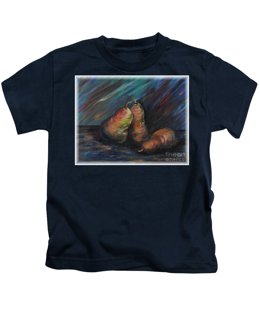 Pears Fruit Stilllife Blue Red Gold Orange Kids T-Shirt featuring the painting Three Pears by Nadine Rippelmeyer