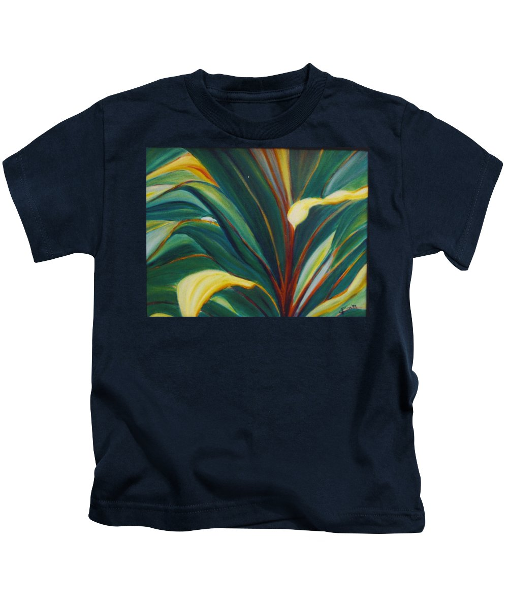 Foliage Kids T-Shirt featuring the painting Ti Leaves Too by Dina Holland