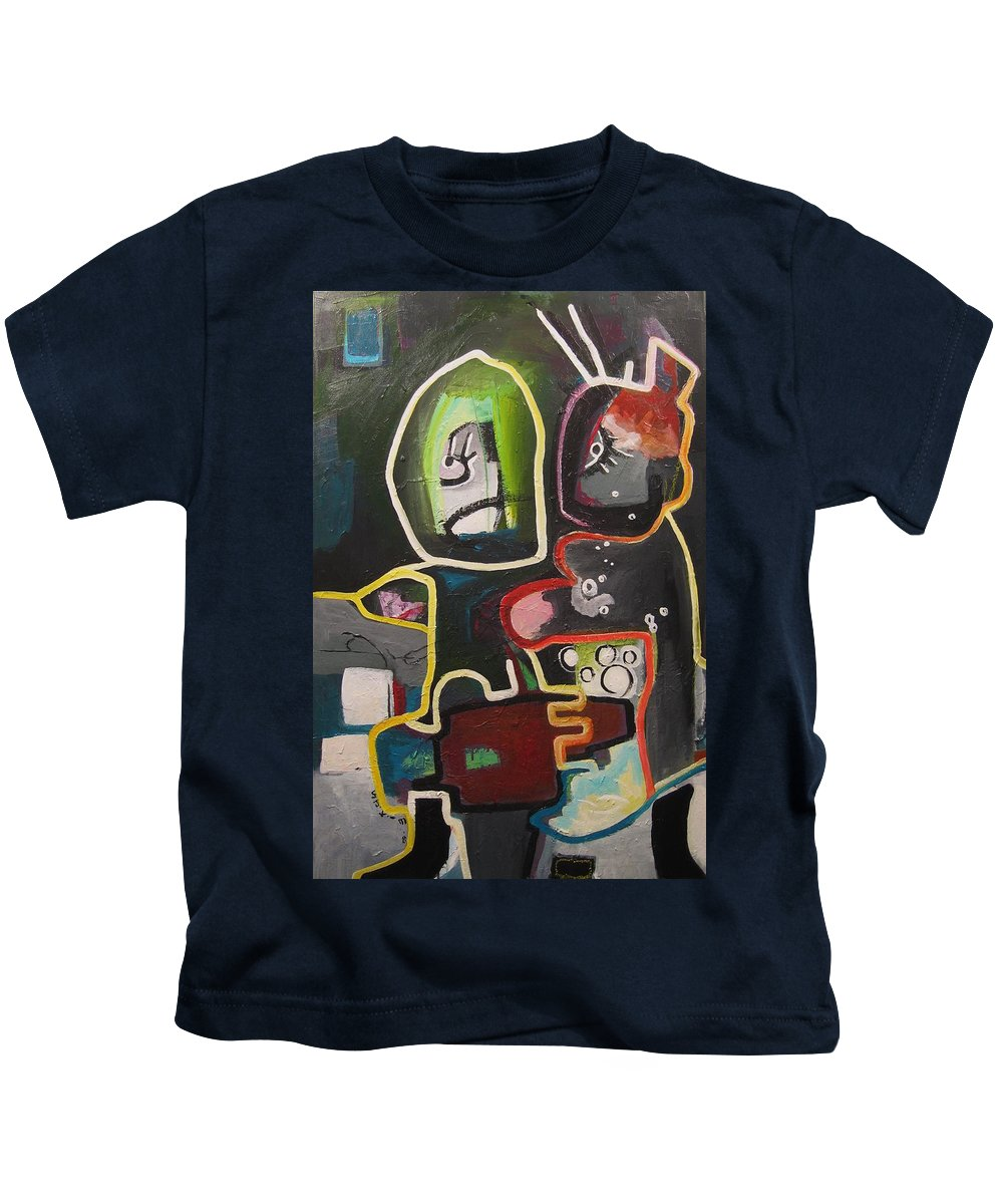 Couple Paintings Kids T-Shirt featuring the painting To Get Along by Seon-Jeong Kim