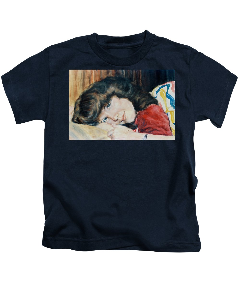 Girl Kids T-Shirt featuring the painting Tracy by Bryan Bustard