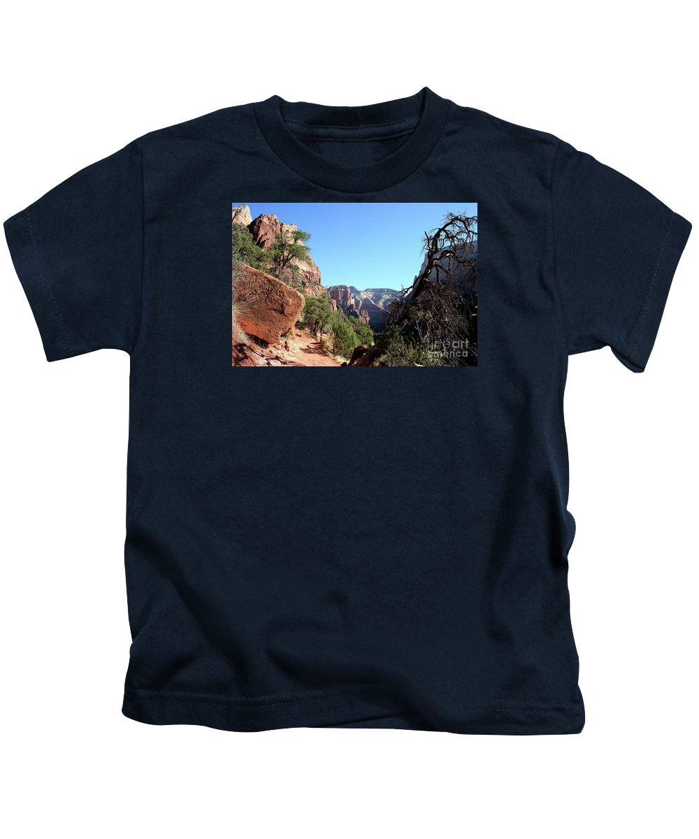 Trail Kids T-Shirt featuring the photograph Trail - Zion Park by Christiane Schulze Art And Photography