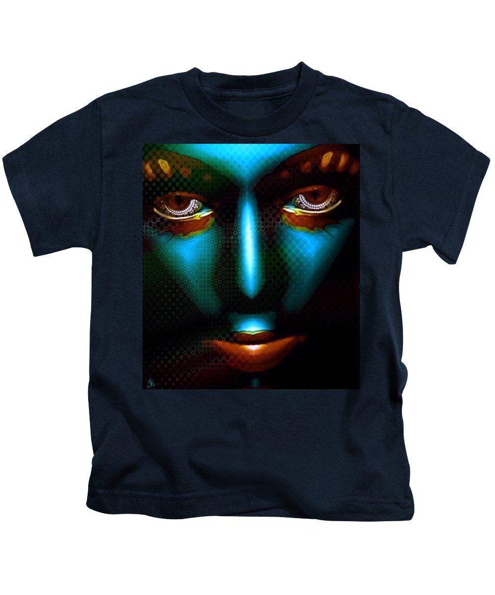 Portrait Faces Fantasy Blue Digital Art Modern Futuristic Kids T-Shirt featuring the digital art Tribal by Kristie Caskey