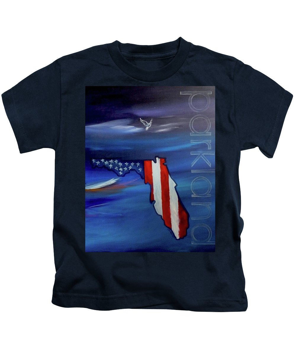State Of Florida Kids T-Shirt featuring the painting Tribute To Parkland by Jean Habeck