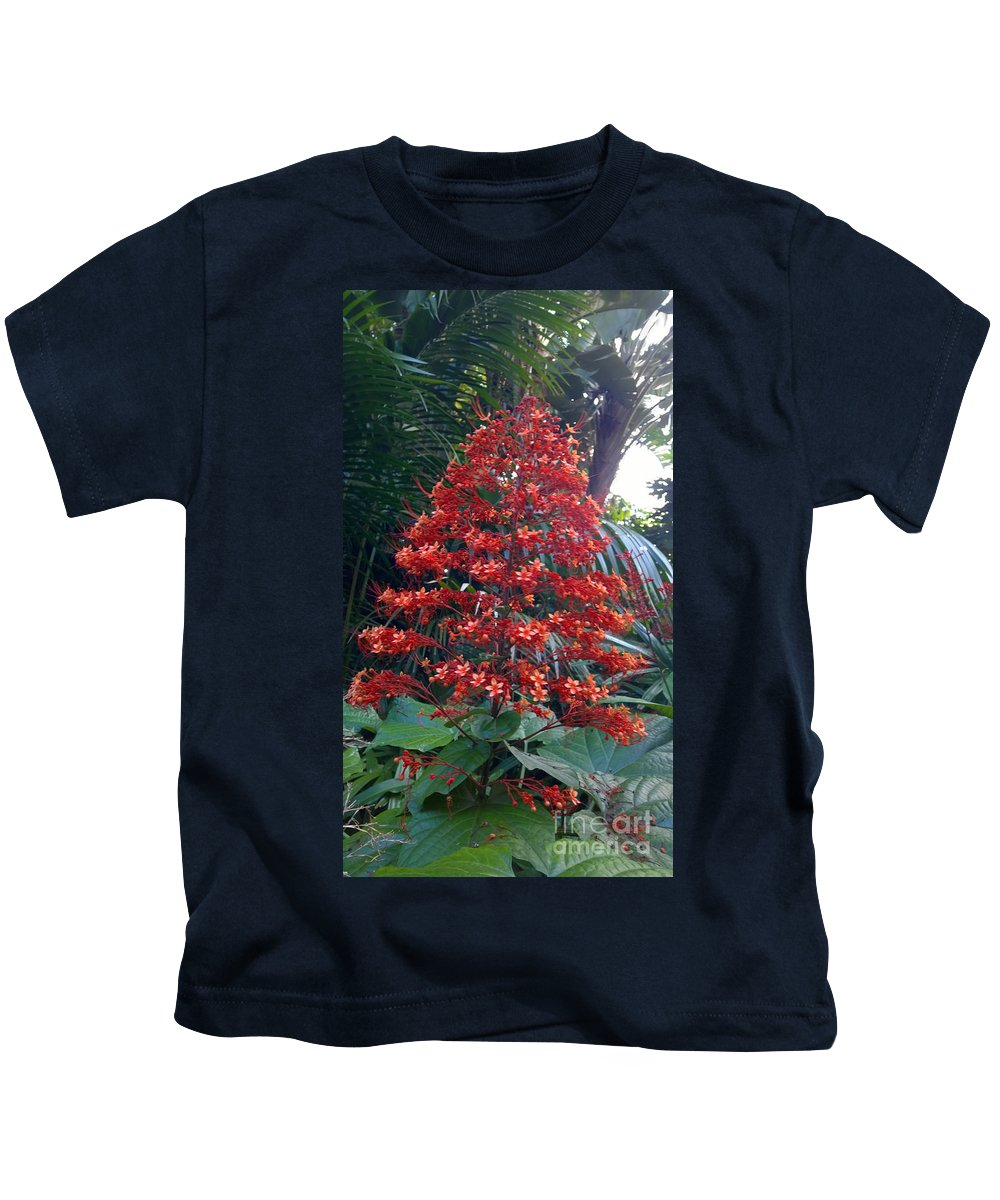 Red Tropical Flowers Kids T-Shirt featuring the photograph Tropical Christmas by Janet Deskins