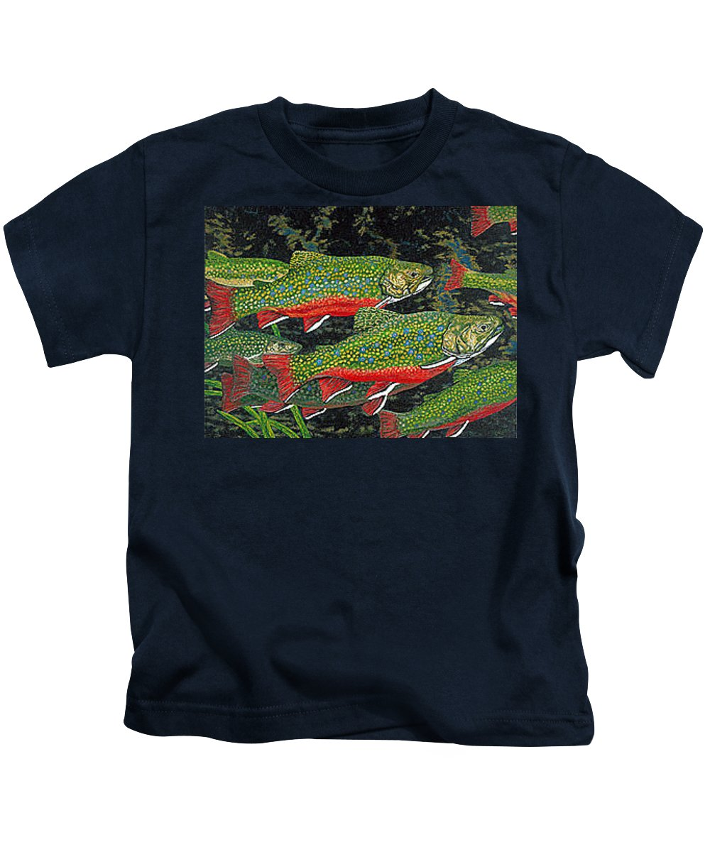 Art Kids T-Shirt featuring the painting Trout Art Brook Trout Fish Artwork Giclee Wildlife Underwater by Baslee Troutman