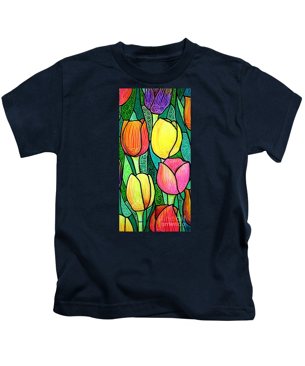 Tulips Kids T-Shirt featuring the painting Tulip Expo by Jim Harris