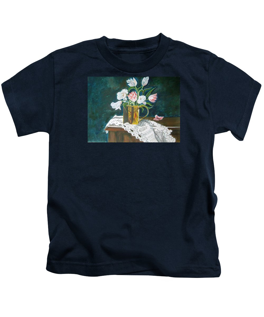 Tulips Kids T-Shirt featuring the painting Tulips by Manjiri Kanvinde