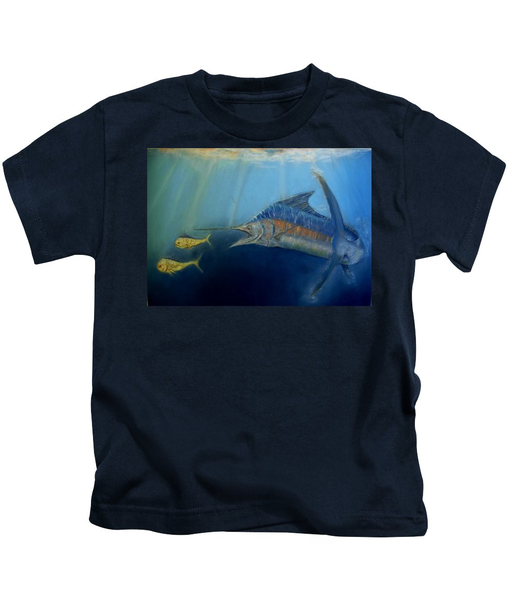 Marine Wildlife Kids T-Shirt featuring the pastel Two For Lunch by Ceci Watson