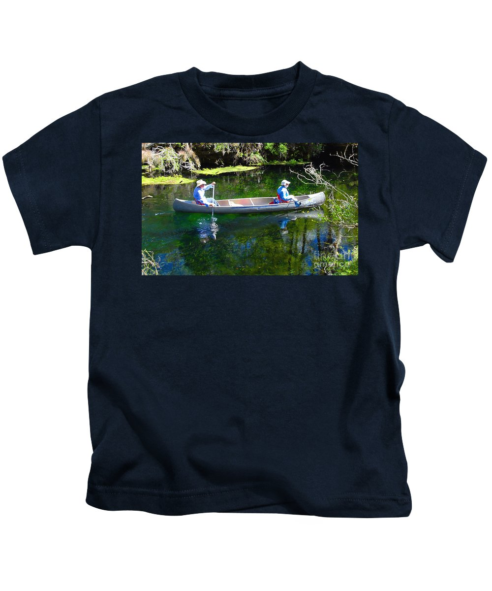 Canoe Kids T-Shirt featuring the photograph Two In A Canoe by David Lee Thompson