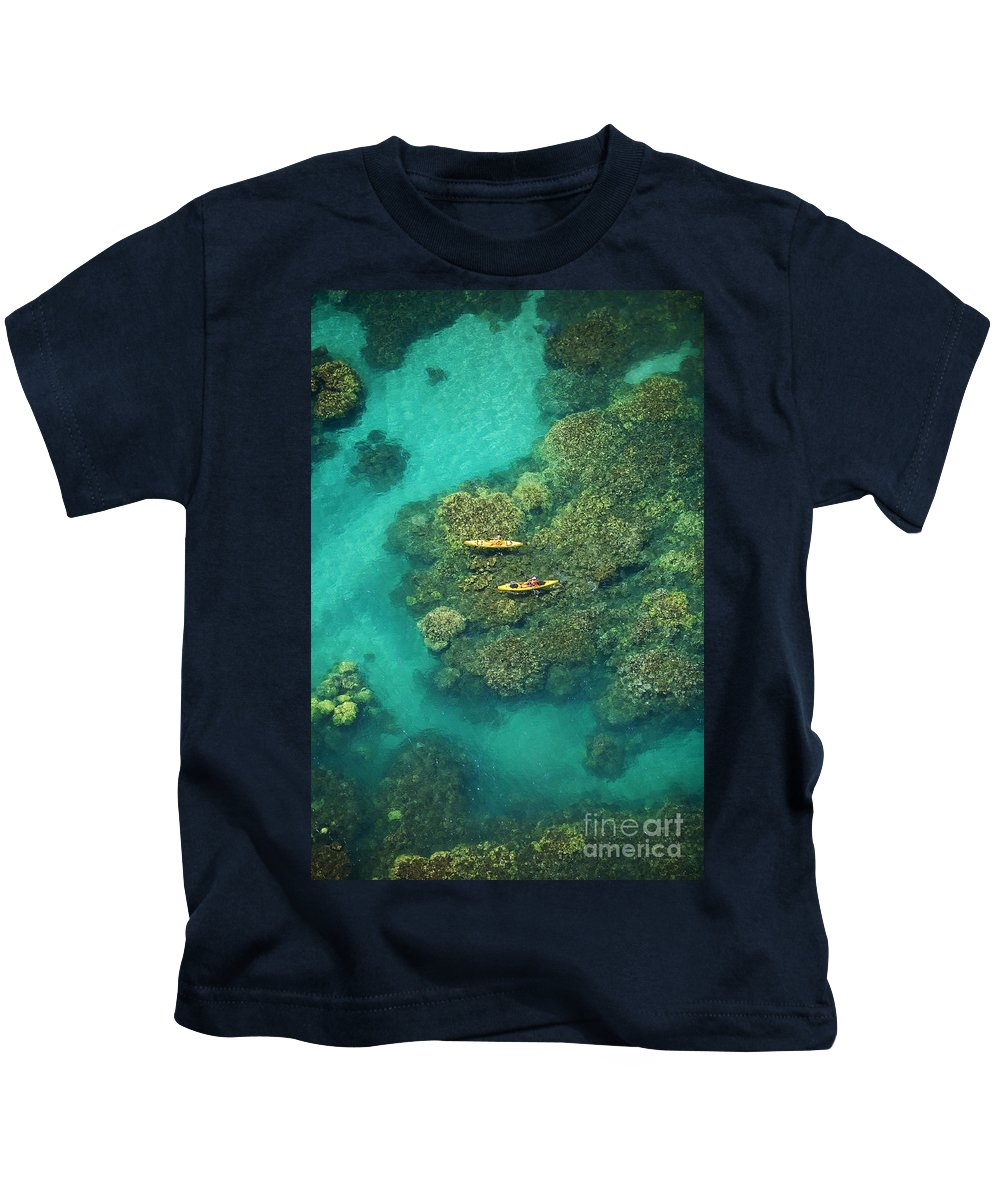 Above Kids T-Shirt featuring the photograph Two Kayakers by Ron Dahlquist - Printscapes