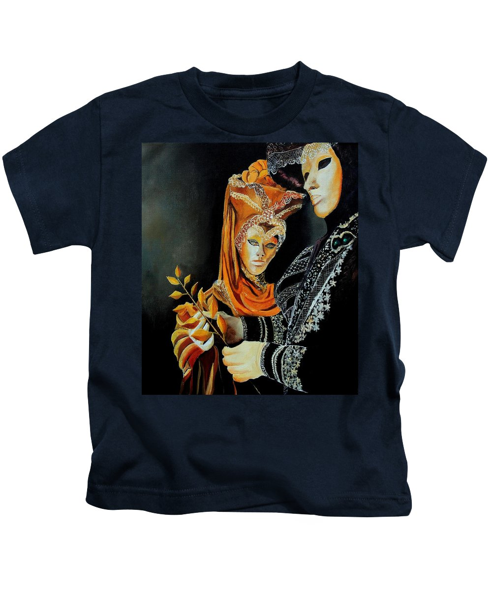 Mask Venice Carnavail Italy Kids T-Shirt featuring the painting Two Masks In Venice by Pol Ledent