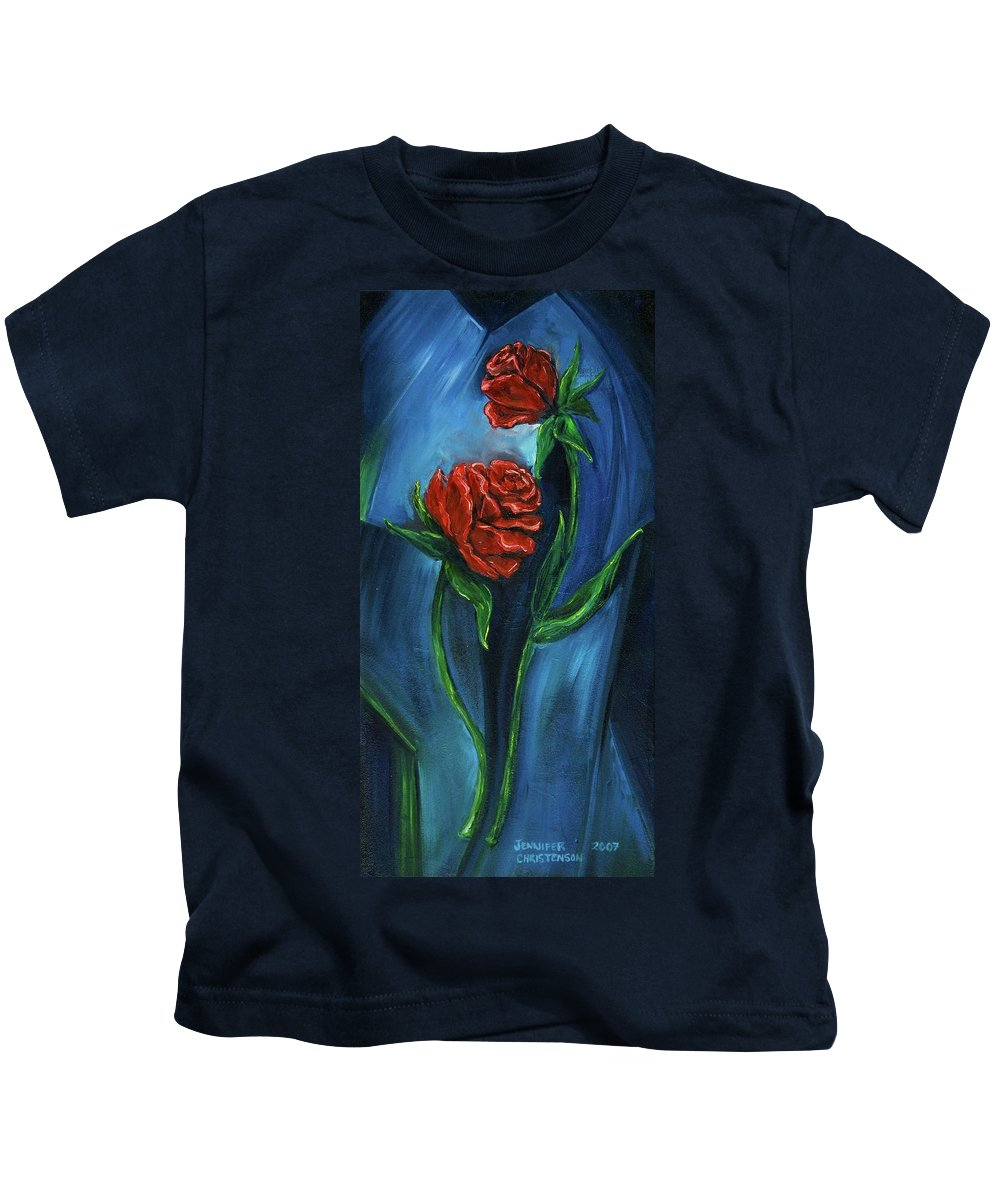 Floral Kids T-Shirt featuring the painting Two Red Roses by Jennifer Christenson