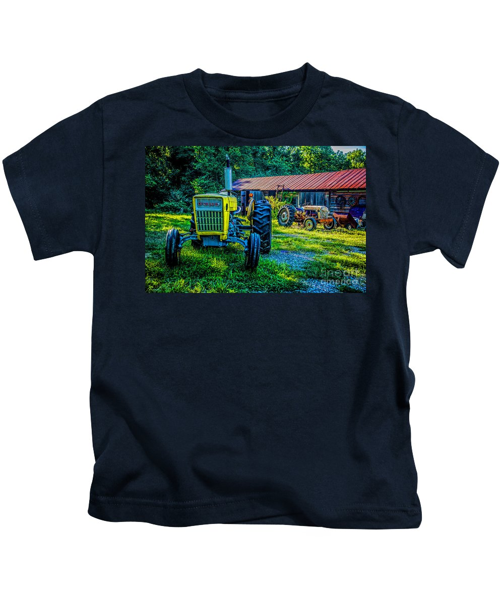 Two Tractors Kids T-Shirt featuring the photograph Two Tractors And A Barn 2697t by Doug Berry