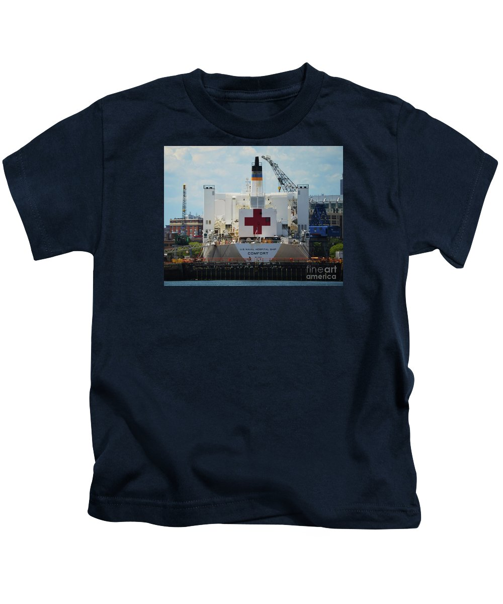 Ship Art Historic Vessel Boston Shipyard Outdoors Industrial Red Cross Buildings Adventure Cranes Us Navy Ship Hospital Ship Heroic Boat Famous Events Dry Dock Collectible Image Canvas Print Wood Print Metal Frame Poster Print Available On Pouches T Shirts Weekender Tote Bags Shower Curtains Mugs Phone Cases Greeting Cards Duvet Covers And Throw Pillows Kids T-Shirt featuring the photograph U S N Hospital Ship, Comfort In Boston's Dry Dock by Marcus Dagan
