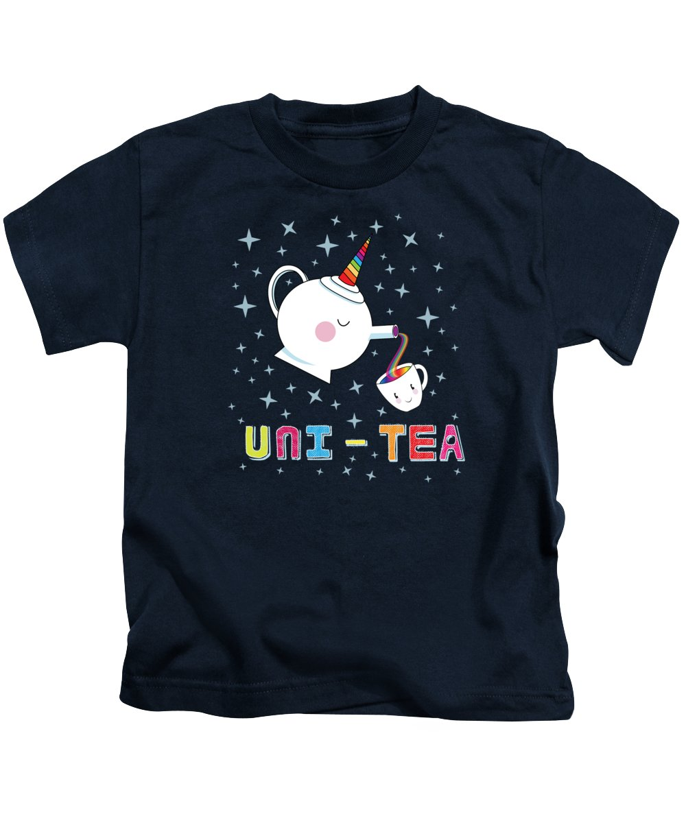 Tea Kids T-Shirt featuring the digital art Unitea Cute Unity Rainbow Tea Pot And Cup by Laura Ostrowski