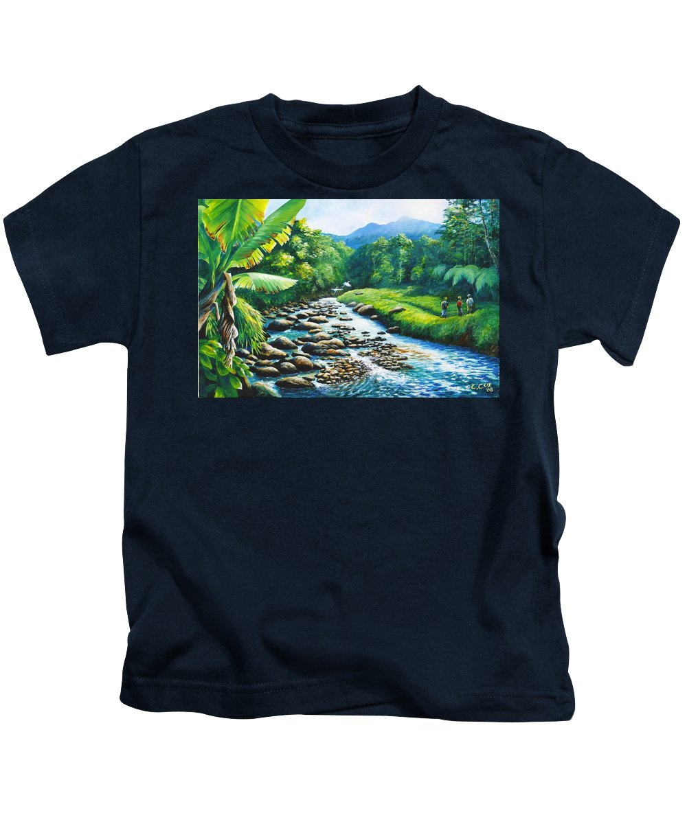 Chris Cox Kids T-Shirt featuring the painting Upriver by Christopher Cox