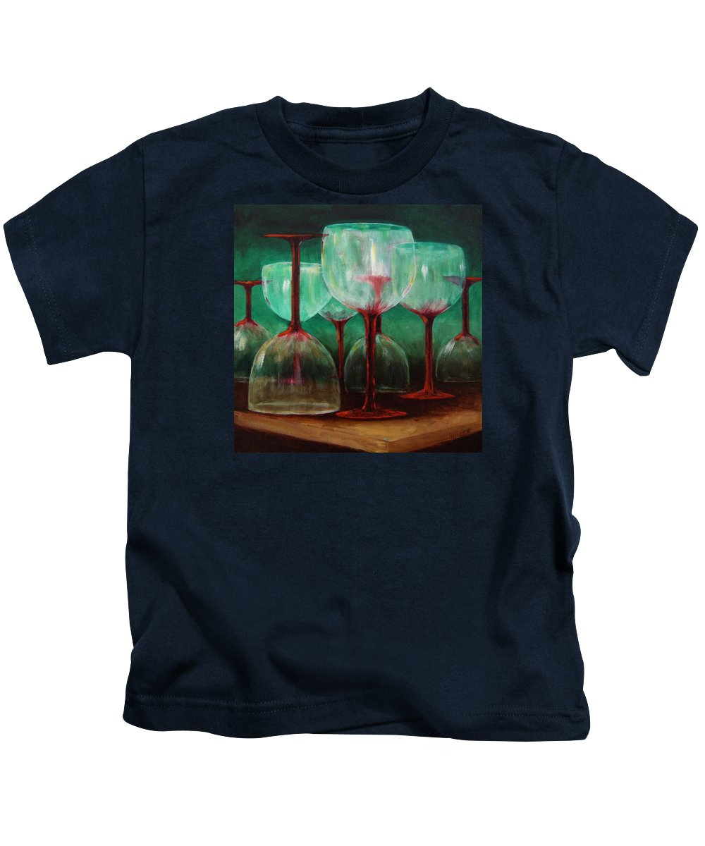 Oil Kids T-Shirt featuring the painting Upsidedown by Linda Hiller
