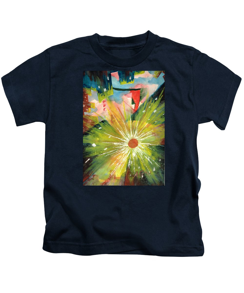 Downtown Kids T-Shirt featuring the painting Urban Sunburst by Andrew Gillette