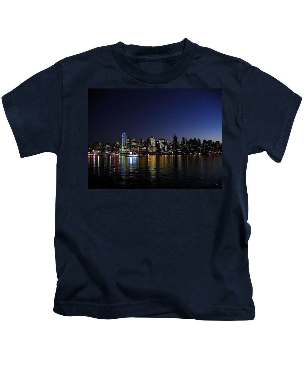 Night Scape Kids T-Shirt featuring the photograph Vancouver Night Lights by Will Borden