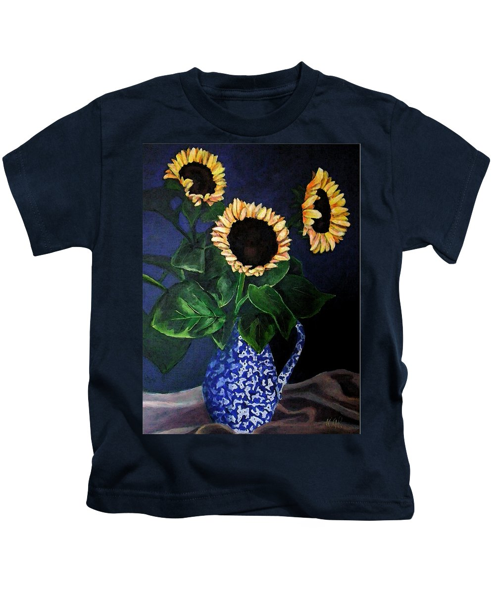 Floral Kids T-Shirt featuring the painting Vase Of Sunflowers by Art by Kar