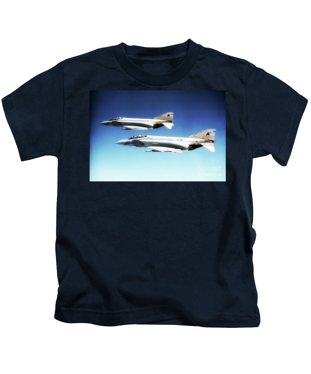 F-4 Kids T-Shirt featuring the digital art Vf-301 Phantoms by J Biggadike